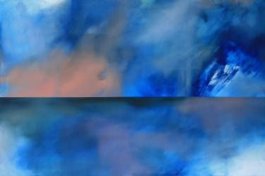 'The Inner Workings' a painting by Amanda Watson #landscape painting #blue #contemporary painting #abstractpainting #saatchiart #theotherartfair