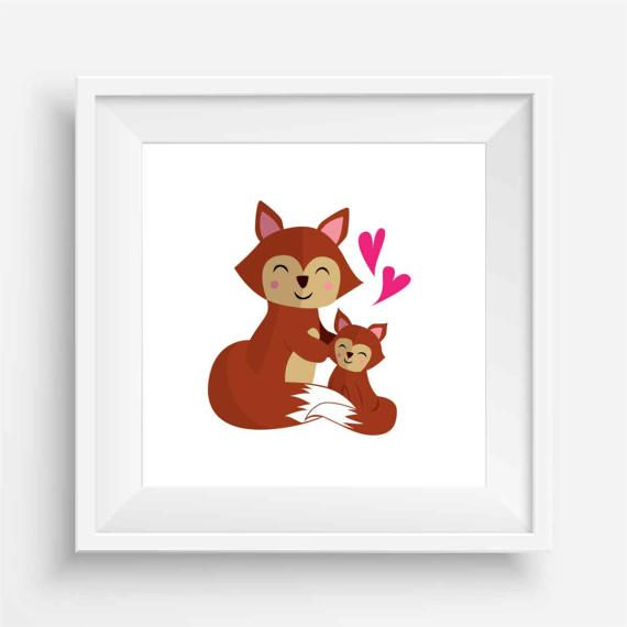 Baby Fox and Mumma by agirladrift on Etsy