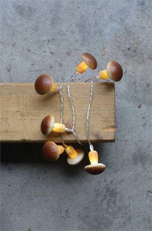 "47-1/4""L Plastic LED Light Chain w/ 10 Mushroom Shaped Lights, Brown (Requires 2AA Batteries)"