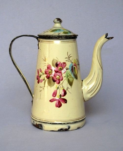 French Floral Handpainted Enamelware Coffee Pot