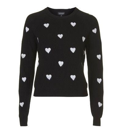 Pull en tricot à motifs cœurs TopShop en noir pour femme - Galeries Lafayette