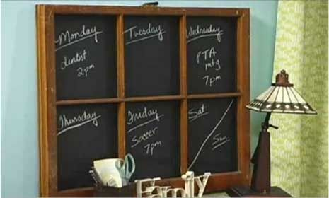 Watch this video to see how some chalkboard paint and an old window can make an adorable Memo Chalkboard!