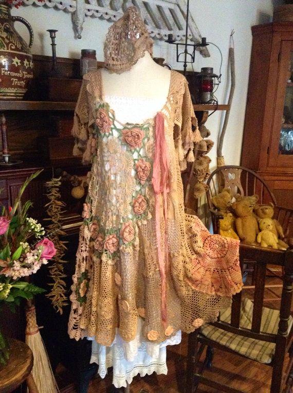 Luv Lucy gypsy crochet dress bohemian love by LuvLucyArtToWear