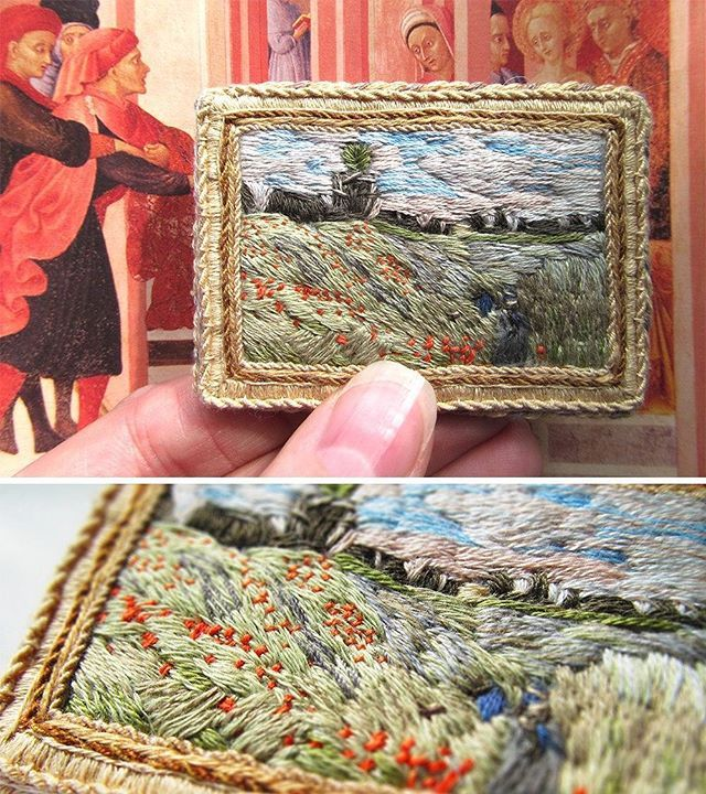 "#brooch based on ""the poppy field near Argenteuil"", 1873, Claude Monet #embroidery #embroidered #embellishment #Monet #stitching #handmade #handembroidery #lerapetunina #painting #impressionism #claudemonet #брошь #клодмоне #импрессионизм #вышивка #ветергуляет"