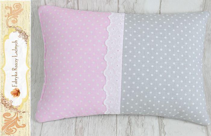 Poduszka ozdobna kropki szaro-różowe 35cm x 25cm