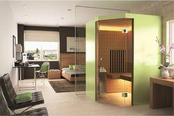 3 Wellnessanwendungen auf nur 2m2: Sauna, Bio-Sauna und Infrarot-Wäremtherapie. Modell Infraflex Trias