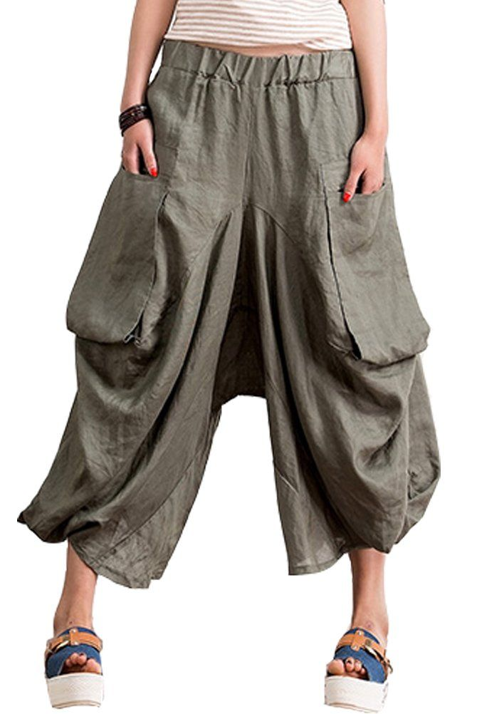 Mordenmiss Women's Casual Harem Pants with Big Pockets at Amazon Women's Clothing store: