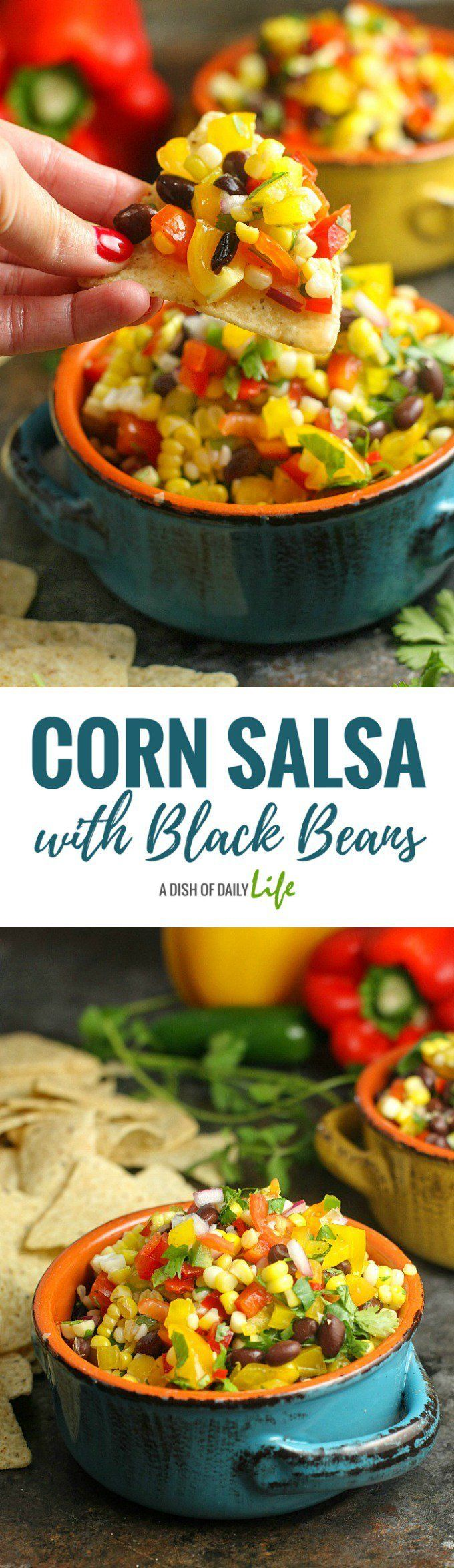 Corn Salsa with Black Beans is the perfect party appetizer for summer cookouts and get-togethers...serve it with chips or as a salad side dish! Easy to make and healthy as well! Appetizer | Summer side dishes | Salad | Corn | Salsa | Mexican | Healthy | BBQ side dishes | Recipes for parties