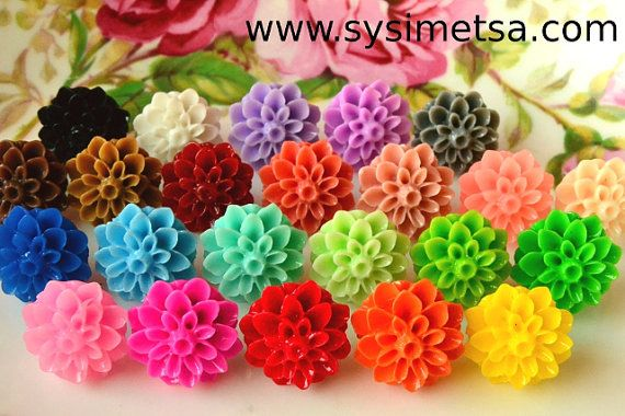 Resin Cabochons  10pcs Flower Cabochons  by NamiSupplies https://www.etsy.com/shop/NamiSupplies