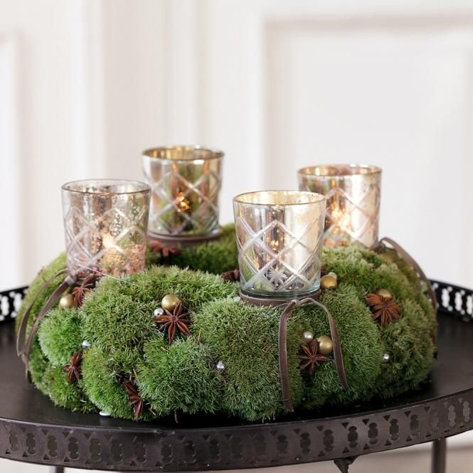 Moss, mercury glass, candle light and natural brown elements