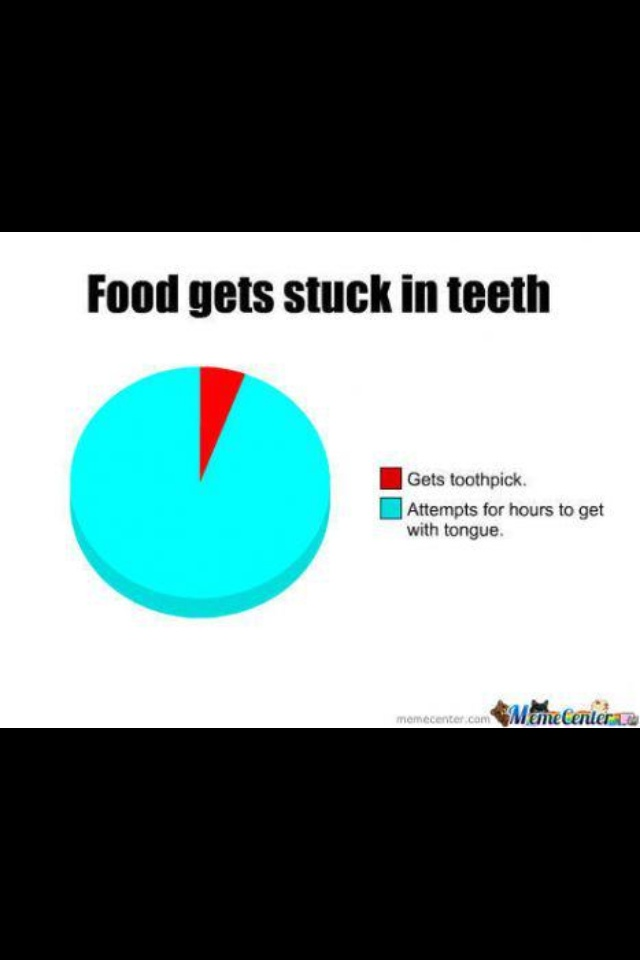 When food gets stuck in your teeth and braces. Hey @Emily Schoenfeld Collier did you get your braces yet?