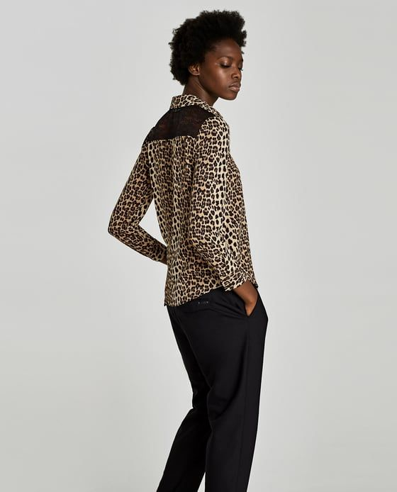 c41697aadcd8fb Image 4 of ANIMAL PRINT BLOUSE WITH LACE from Zara   R O M A N T I C T O P  S   Animal print blouse, Printed blouse, Animal print fashion