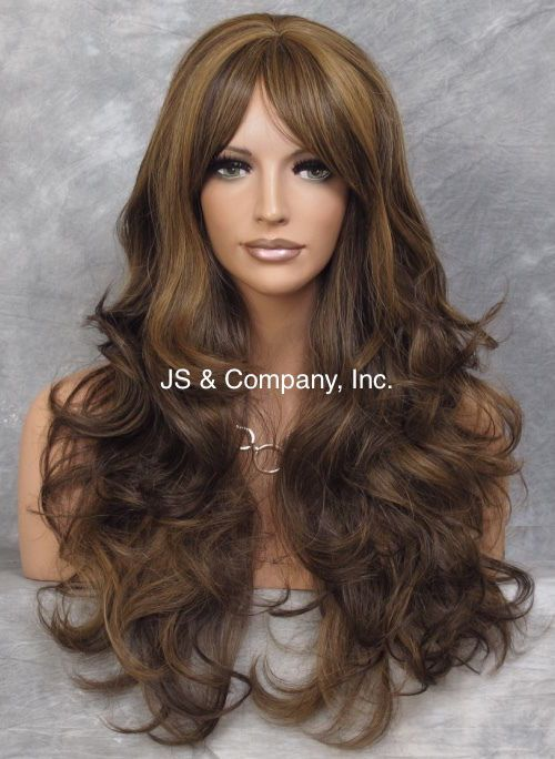 Human Hair Blend Brown Auburn mix Long Wavy Layered wty wig HEAT SAFE 4.27.30 #Sepia #FullWig