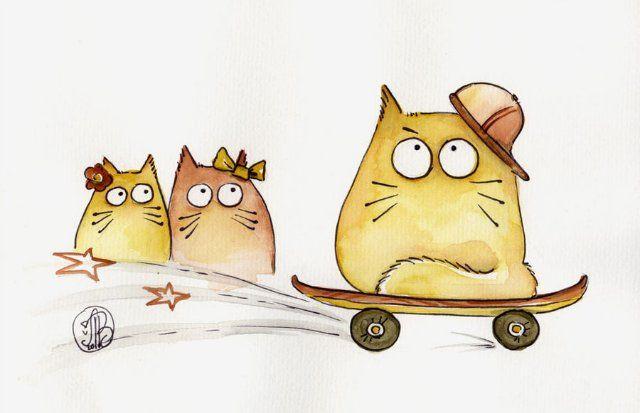 как рисовать смешных котов рисунки дело семейные фотоснимки