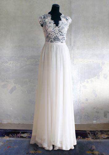 Remshardt-Brautkleid Hochzeitskleid Spitze und Seidenchiffon ...