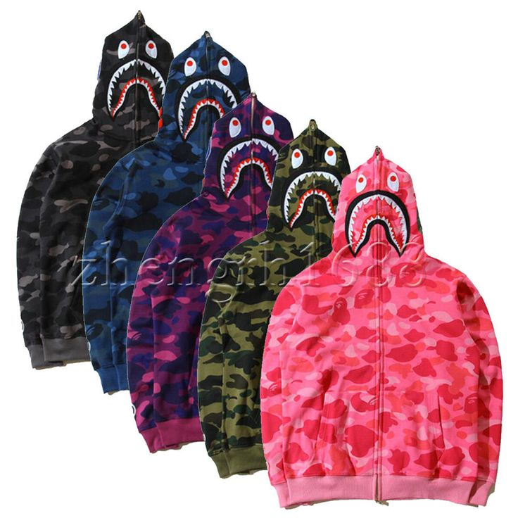 Hot Bathing Ape Bape Shark Jaw Camo Full Zipper Hoodie ...