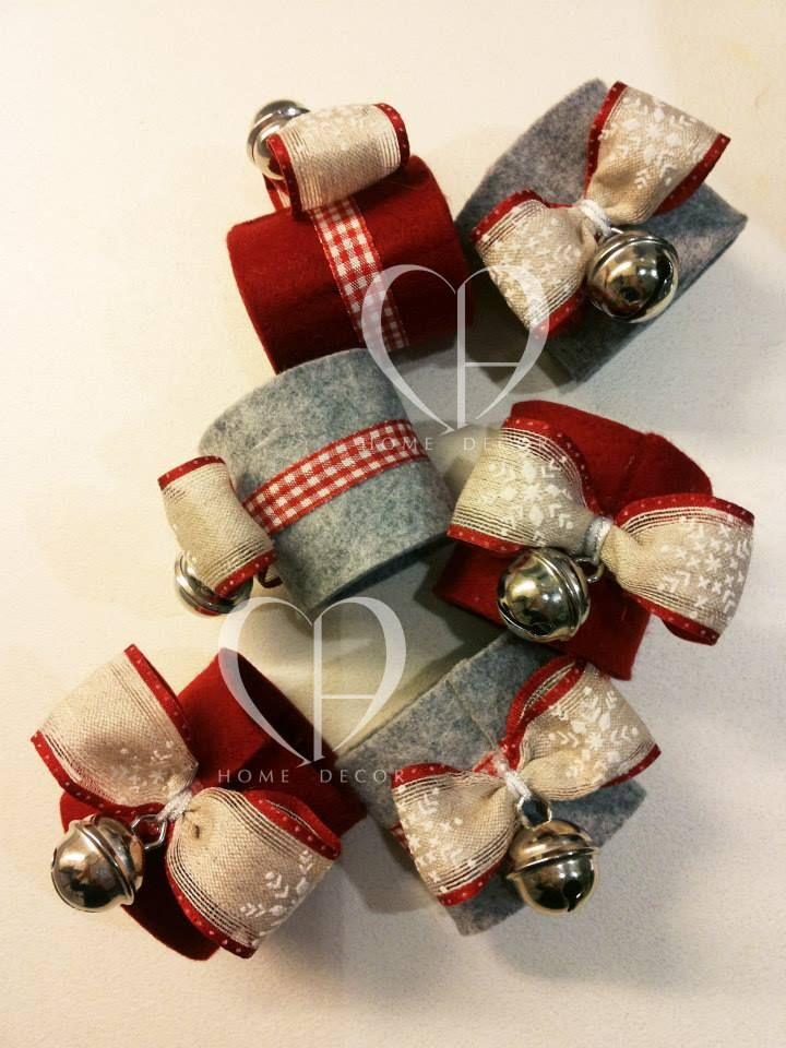 Felt Napkin decorated with ribbon and bell metal