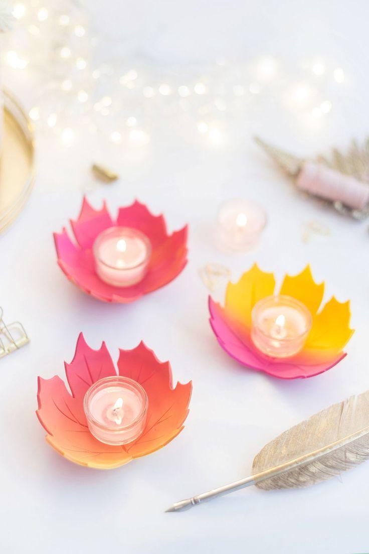 DIY: Herbstblatt-Windlicht aus FIMO