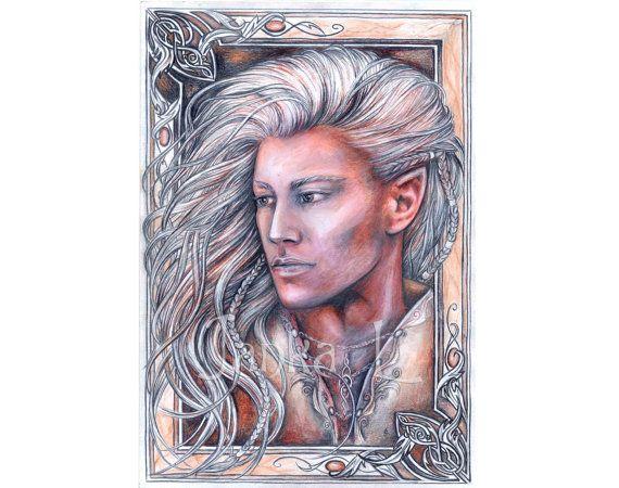 Original illustration Elven portrait elven art archer by JankaLart