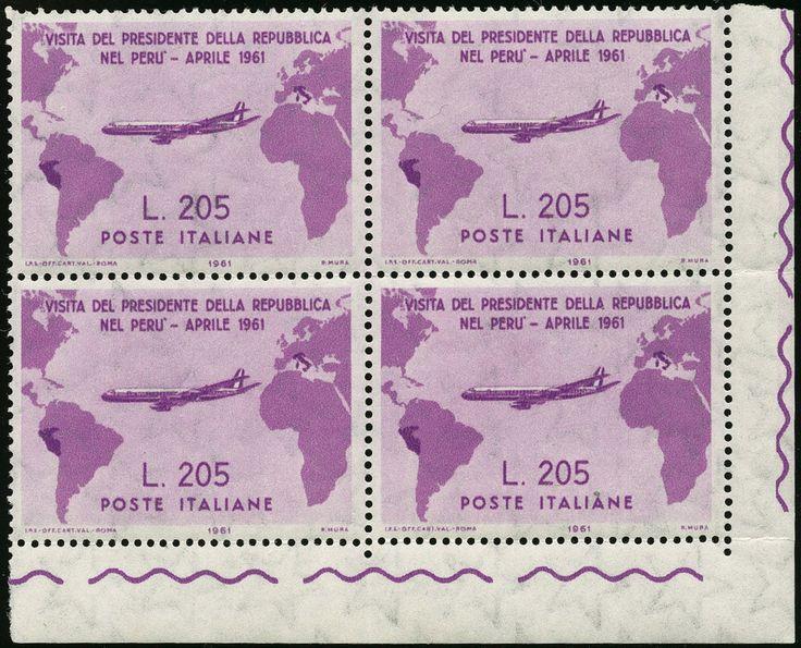 """lotto 781 - Italia Repubblica - L.205 lilla rosa """"Gronchi Rosa"""" blocco di 4, angolo di foglio"""