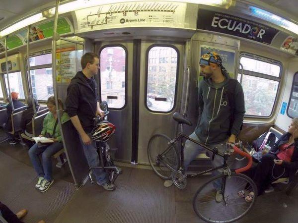 通常の自転車より、電車内のスペースを取らなくて済む