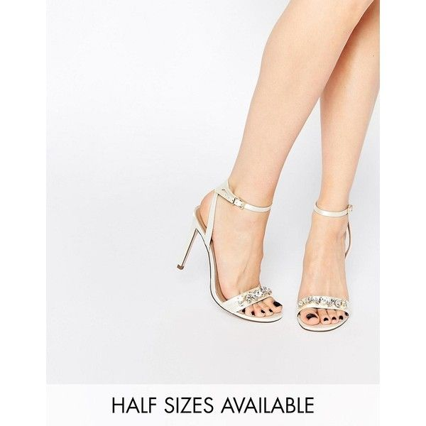 ASOS HIGH IN THE SKY Bridal Heeled Sandals ($41) ❤ liked on Polyvore featuring shoes, sandals, white, white bridal sandals, asos sandals, embellished sandals, heeled sandals and white strappy shoes