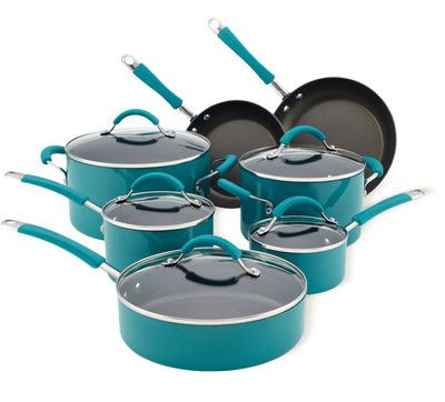 turquoise kitchen aid pots and pans