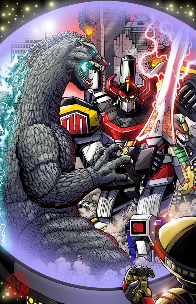 Godzilla vs The Power Rangers - Comicpalooza Print by KaijuSamurai.deviantart.com on @deviantART