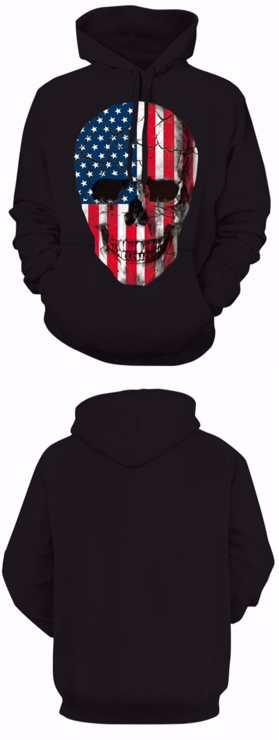 American Flag Skull Print Hoodie with Drawstring