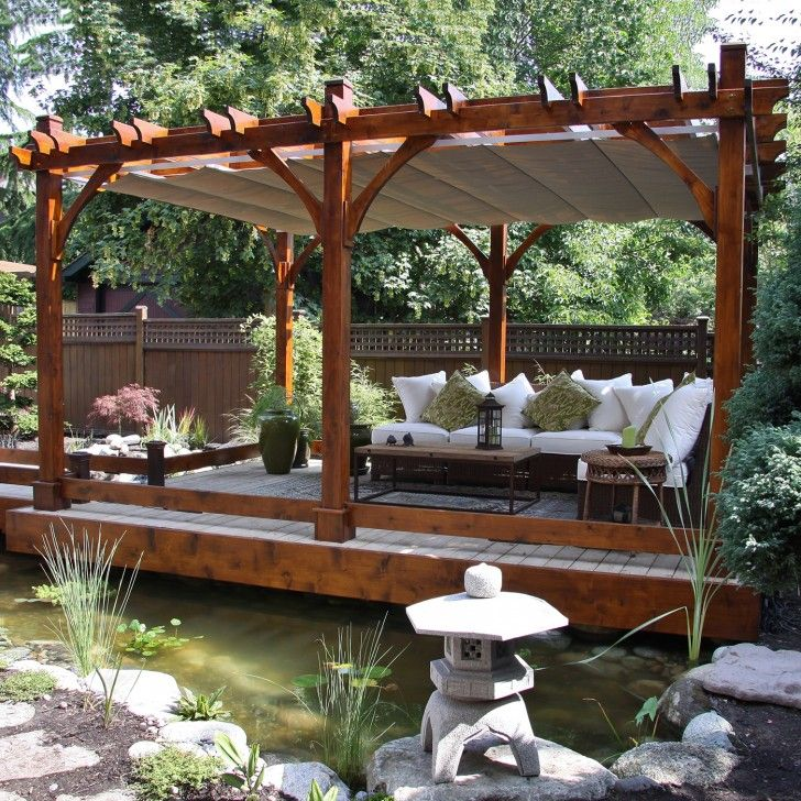 Exterior Design. Turned Your Backyard With Alluring Outdoor Patio Pergola Roof. Desirable Natural Outdoor Patio Pergola Roof Offer Natural Pond Landscape Combine Floating Pergola Decking Also Lovable L-Shaped Sofas And Rectangle Wooden Coffee Table Ideas