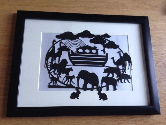 Noahs Ark Framed Hand Cut Paper Art By KnittyKnottyCrafts