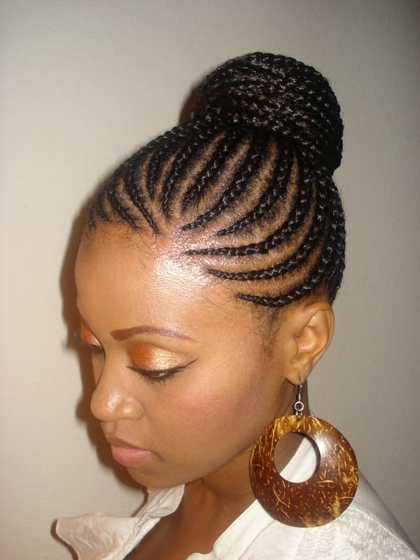 hair style braids this is an example of cornrows in a bun to help protect 3855