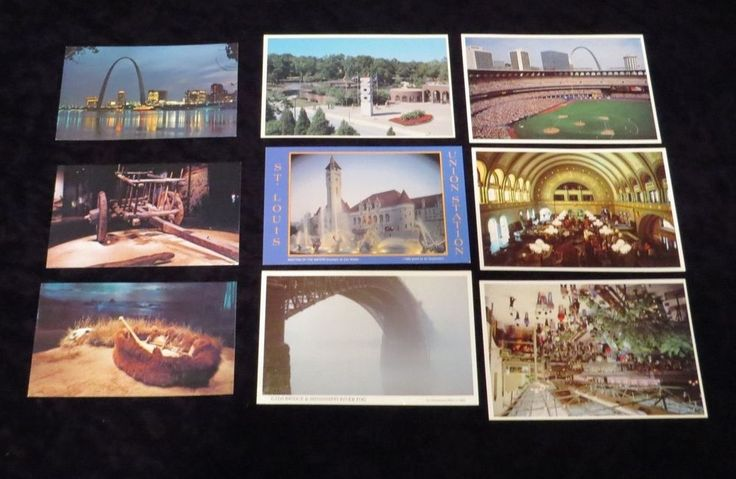 VTG 9 LOT St Louis MO Gateway Arch Busch Cardinals Baseball Stadium Postcards