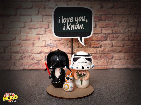 BB8 Star Wars Wedding Cake Topper with Darth Vader by OhMyHero