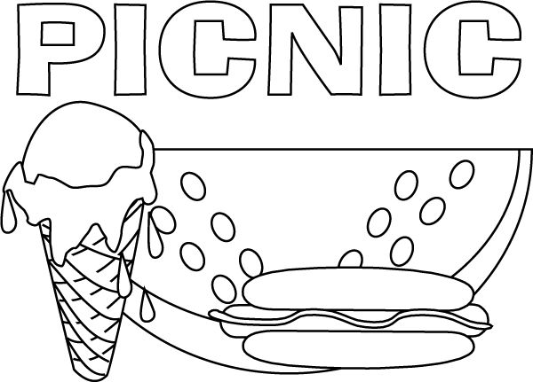 24 best picnic crafts images on pinterest picnic theme for Summer themed coloring pages