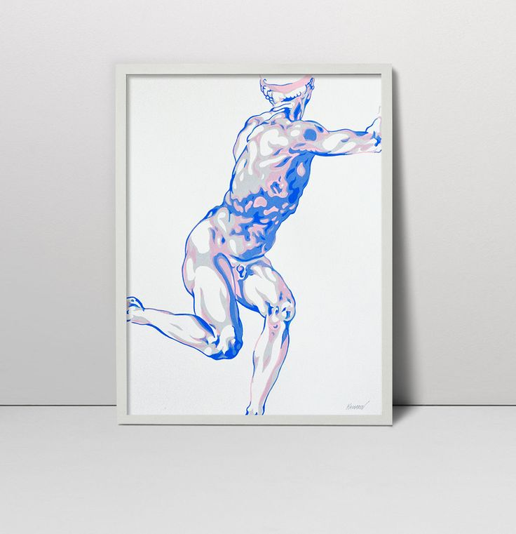 Handmade screen print painting Study for a figure after Michelangelo serigraph…