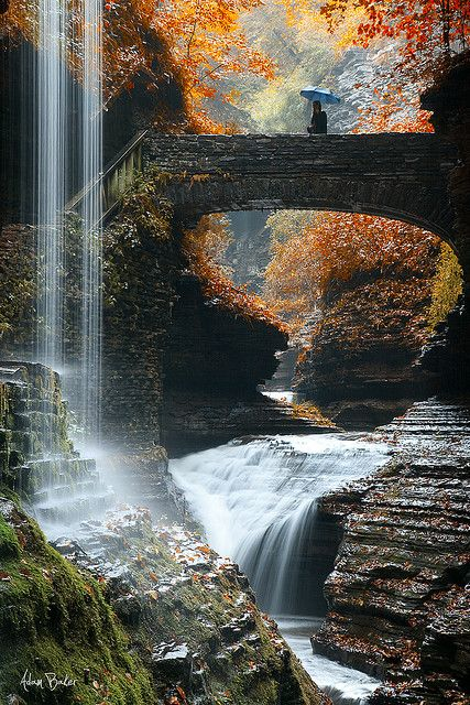 Rainbow Falls, Watkins Glen State Park, New York, USA.    Photo by Adam Baker.