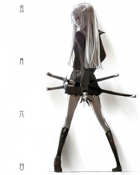 Девушка аниме катана
