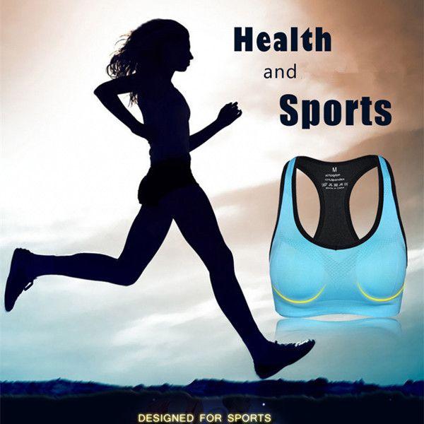 Women Shakeproof Running Fitness Yoga Seamless Bra Wireless Breathable Gym Tank Vest Top