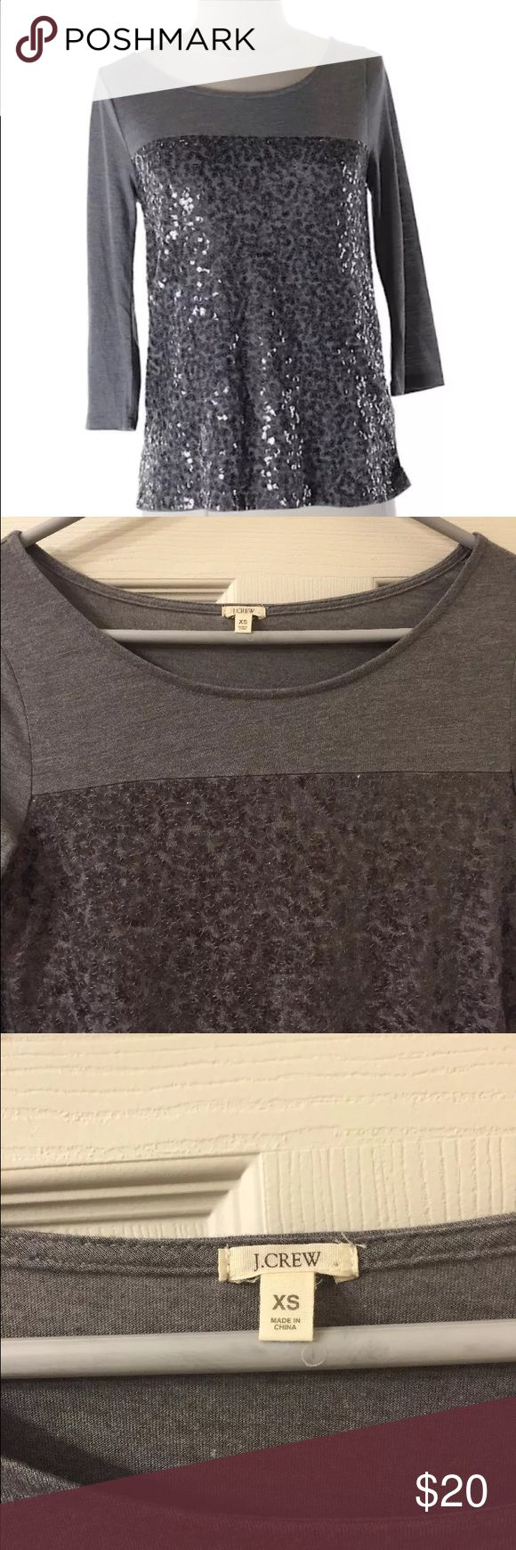 """Jcrew Ladies Scoop Neckline Embellished Top. XS Jcrew Ladies Scoop Neckline beautifully Embellished Top/shirt. 3/4 sleeves. Measurements 34"""" chest. 24"""" length.   Size XS (fits like a small)  65% polyester 35% rayon. Good pre owned condition j crew Tops"""