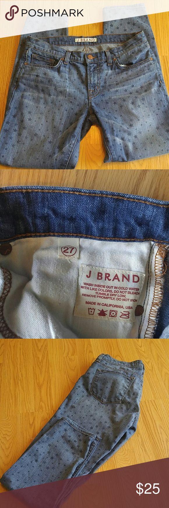 J Brand Star Print Skinny Jean Gently used J Brand Star Print Skinny Jean! Size 27, 28in inseam, 8in rise. Make me an offer or bundle to save! J Brand Jeans Skinny