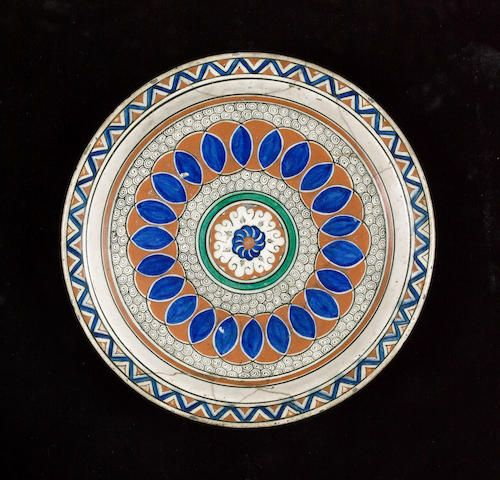 An Iznik pottery Dish with coloured roundels on spiral ground Turkey, second half of 16th Century (2