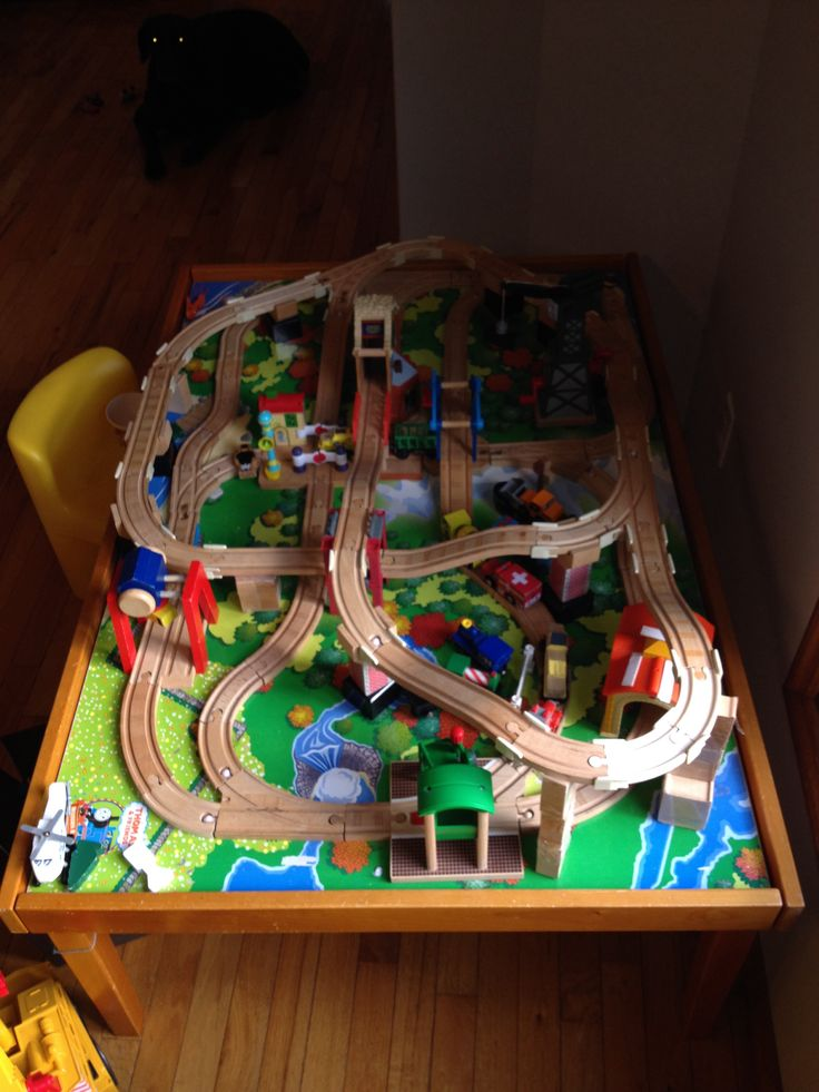 Ordinaire Childrenu0027s Train Track Design On A Standard Wooden Train Table. Not My  Husbandu0027s Design,