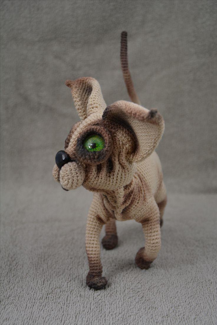 Kot szydełko amigurumi crochet cat sphynx