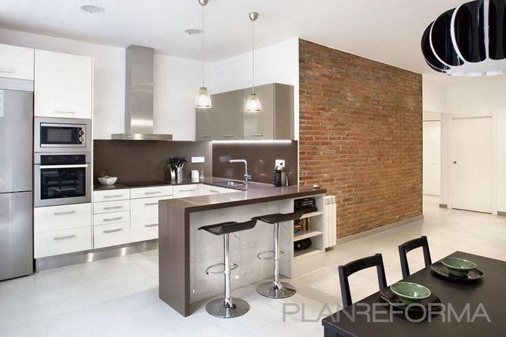 Cocina, estilo Contemporaneo color Marron, Blanco, Negro,