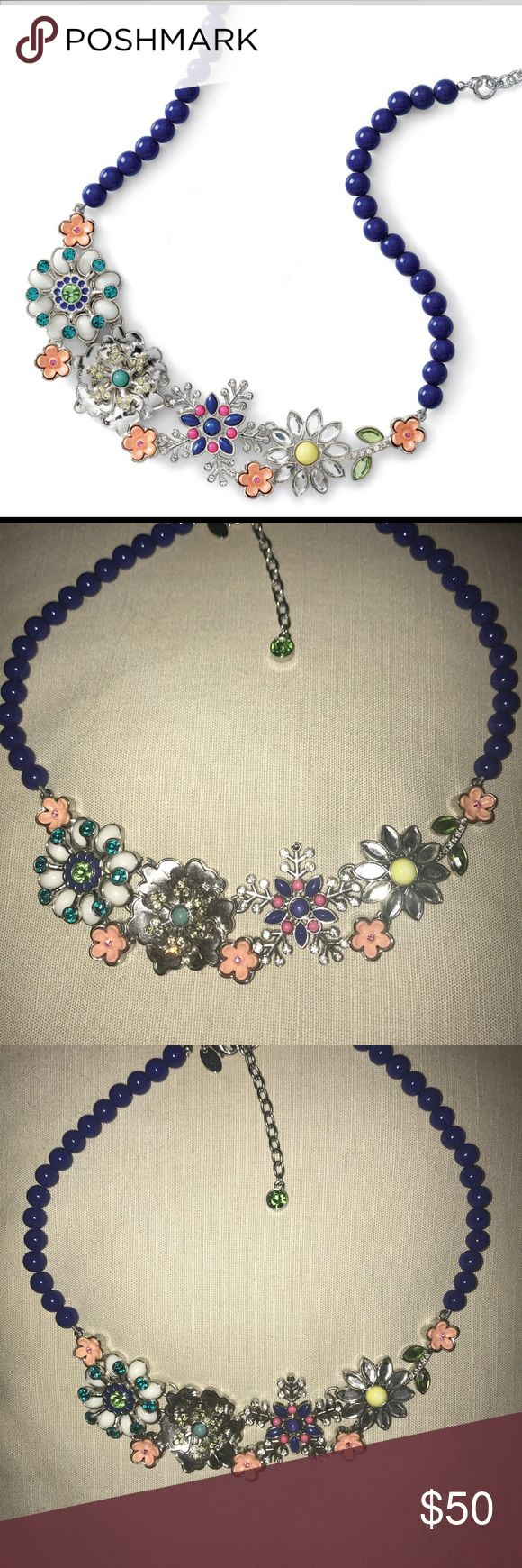 Full Bloom by Lia Sophia Full Bloom necklace by Lia Sophia. Necklace features blue beads and detailed flower design. It is 16-19 inches long. Former display item in excellent condition. Lia Sophia Jewelry Necklaces