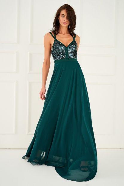 Zümrüt YeşilI Sırt Detaylı Elbise
