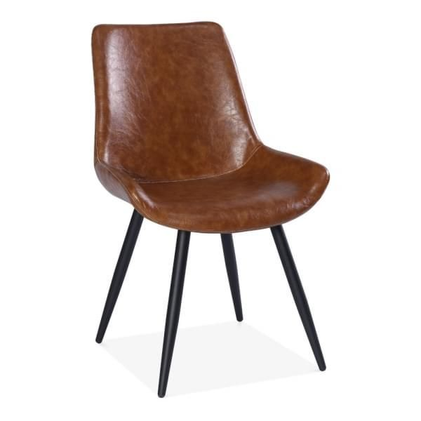 Montague Dining Chair Faux Leather Upholstered Tan In 2020