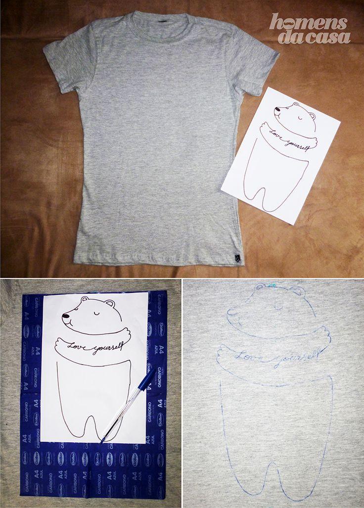 Hoje a Deisy veio com a customização de uma camiseta que pode ser um presentão pro Dia dos Namorados.