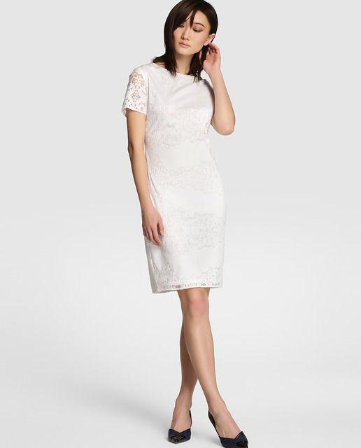 Vestido de encaje de mujer Antea en blanco